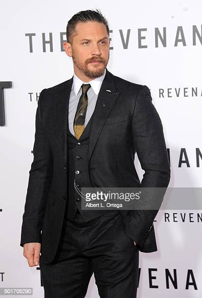 Actor Tom Hardy arrives for the Premiere Of 20th Century Fox And Regency Enterprises' The Revenant held at TCL Chinese Theatre on December 16 2015 in...