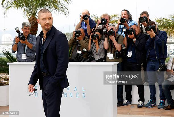 Actor Tom Hardy attends a photocall for 'Mad Max Fury Road' during the 68th annual Cannes Film Festival on May 14 2015 in Cannes France
