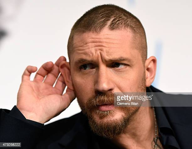 Actor Tom Hardy attends the 'Mad Max Fury Road' press Conference during the 68th annual Cannes Film Festival on May 14 2015 in Cannes France