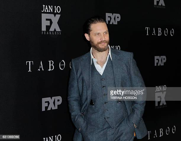 Actor Tom Hardy attends the premiere of FX's 'Taboo' at the DGA Theater in Los Angeles, California, on January 9, 2017. / AFP / TIBRINA HOBSON