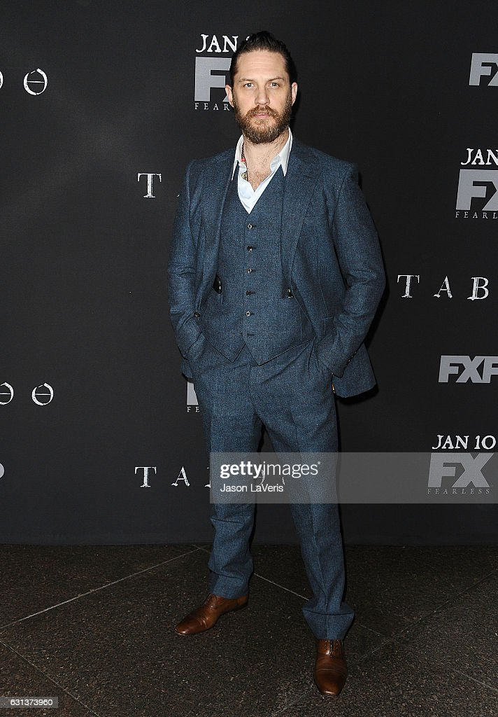 Actor Tom Hardy attends the premiere of 'Taboo' at DGA Theater on January 9, 2017 in Los Angeles, California.