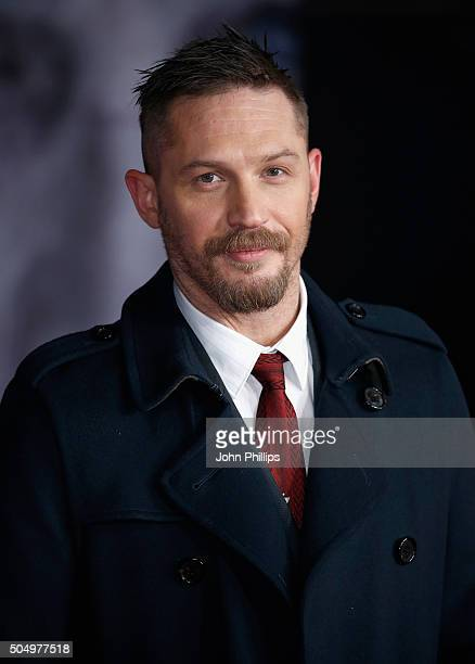 """Actor Tom Hardy attends the UK Premiere of """"The Revenant"""" at the Empire Leicester Square on January 14, 2016 in London, England."""