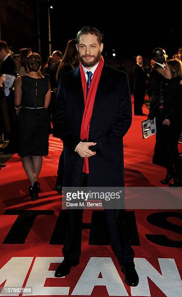 Actor Tom Hardy attends the UK premiere of 'This Means War' at ODEON Kensington on January 30 2012 in London England