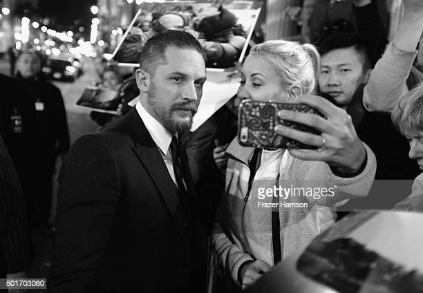 Actor Tom Hardy meets fans at the Premiere Of 20th Century Fox And Regency Enterprises' The Revenant at TCL Chinese Theatre on December 16 2015 in...