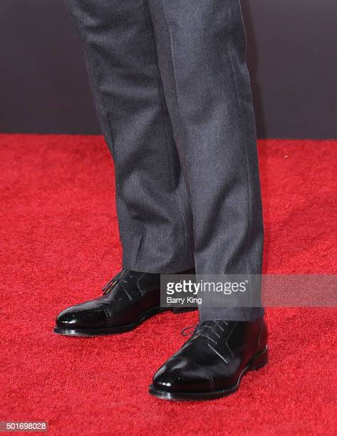 Actor Tom Hardy shoe detail attends the premiere of 20th Century Fox's 'The Revenant' at TCL Chinese Theatre on December 16 2015 in Hollywood...
