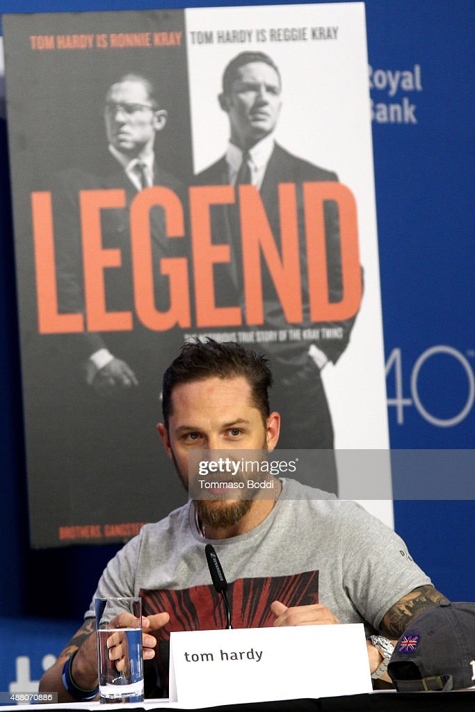 Actor Tom Hardy speaks onstage during the 'Legend' press conference at the 2015 Toronto International Film Festival at TIFF Bell Lightbox on September 13, 2015 in Toronto, Canada.
