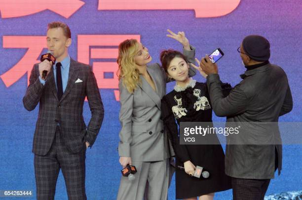 Actor Tom Hiddleston actress Brie Larson actress Jing Tian and actor Samuel L Jackson attend the press conference of film 'Kong Skull Island ' at...