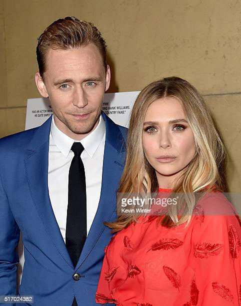 """Actor Tom Hiddleston and actress Elizabeth Olsen attend the premiere of Sony Pictures Classics' """"I Saw The Light"""" at the Egyptian Theatre on March..."""