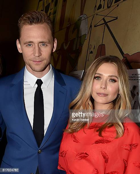 """Actor Tom Hiddleston and Actress Elizabeth Olsen attends the premiere of Sony Pictures Classics' """"I Saw The Light"""" at the Egyptian Theatre on March..."""