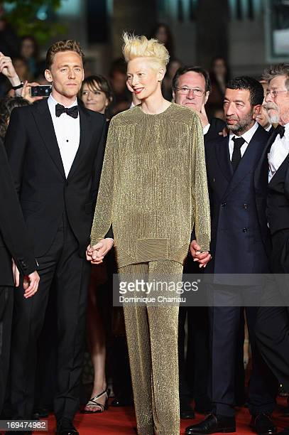 Actor Tom Hiddleston and actress Tilda Swinton attends the Premiere of 'Only Lovers Left Alive' during the 66th Annual Cannes Film Festival at the...
