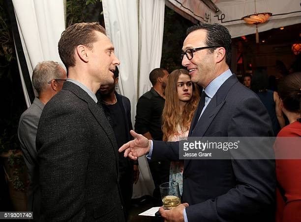 Actor Tom Hiddleston and AMC President and General Manager Charlie Collier attend the premiere of AMC's The Night Manager at DGA Theater on April 5...