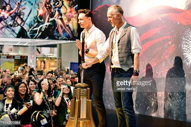 Actor Tom Hiddleston and director Alan Taylor attend Marvel's 'Thor The Dark World' Autograph Signing ComicCon International 2013 on July 21 2013 in...