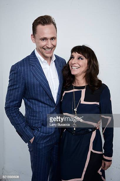 Actor Tom Hiddleston and director Susanne Bier from 'The Night Manager' pose at the Tribeca Film Festival Getty Images Studio on April 15 2016 in New...