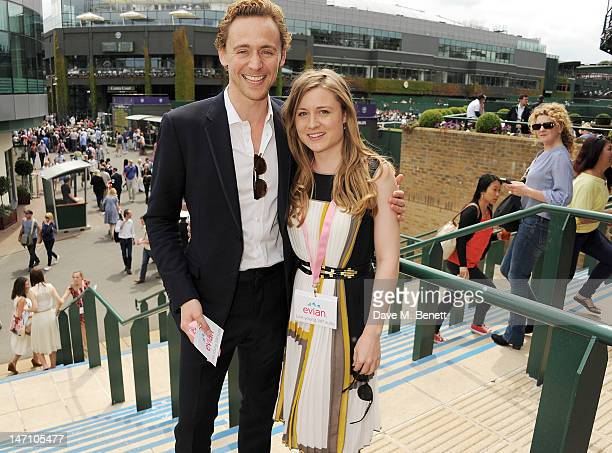 Actor Tom Hiddleston and sister Emma attends the evian 'Live young' VIP Suite at Wimbledon on June 25, 2012 in London, England.