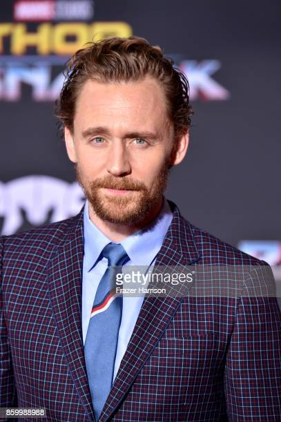 Actor Tom Hiddleston arrives at the Premiere Of Disney And Marvel's Thor Ragnarok Arrivals on October 10 2017 in Los Angeles California
