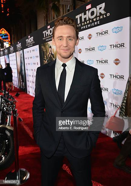 Actor Tom Hiddleston attends Marvel's Thor The Dark World Premiere at the El Capitan Theatre on November 4 2013 in Hollywood California