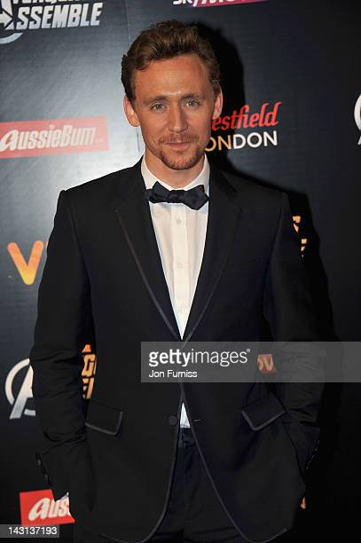 Actor Tom Hiddleston attends the European Premiere of Marvel Studios' Marvel's Avengers Assemble held at the Vue Westfield on April 19 2012 in London...