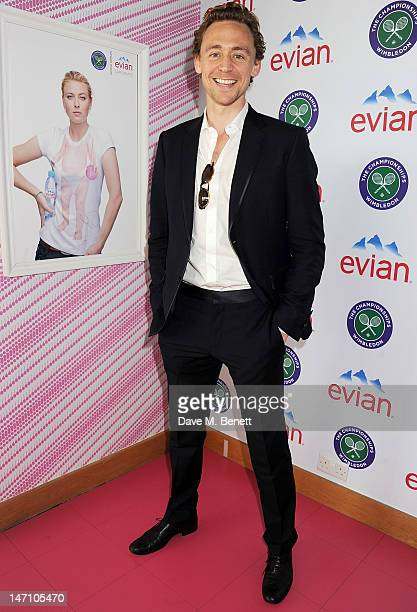 Actor Tom Hiddleston attends the evian 'Live young' VIP Suite at Wimbledon on June 25, 2012 in London, England.
