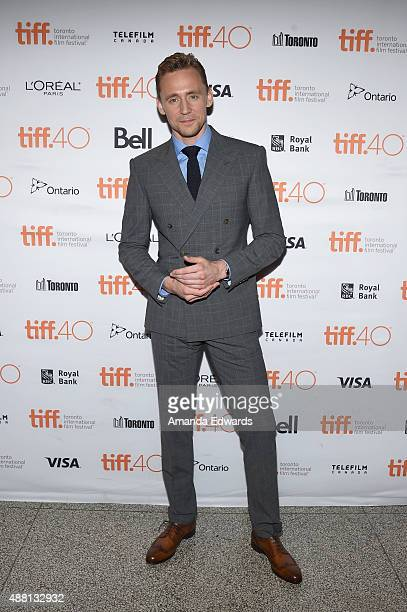 Actor Tom Hiddleston attends the 'HighRise' premiere during the 2015 Toronto International Film Festival at The Elgin on September 13 2015 in Toronto...