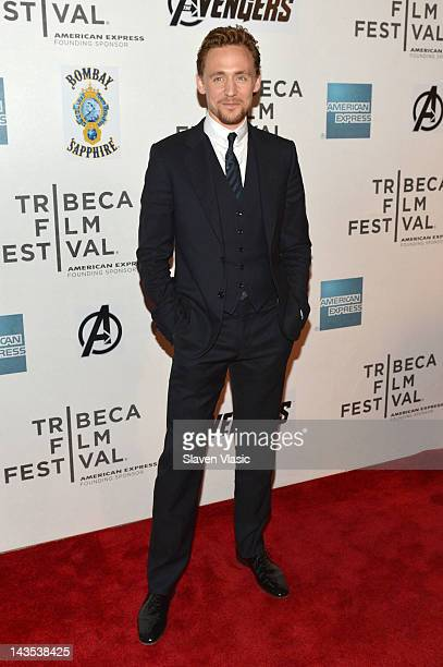 Actor Tom Hiddleston attends the Marvel's The Avengers Premiere during the 2012 Tribeca Film Festival at the Borough of Manhattan Community College...