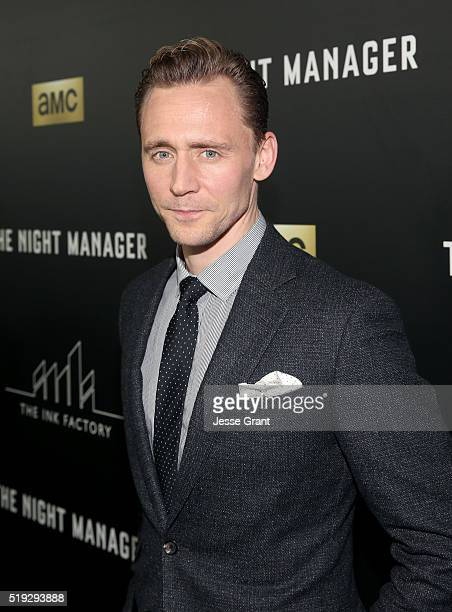 Actor Tom Hiddleston attends the premiere of AMC's The Night Manager at DGA Theater on April 5 2016 in Los Angeles California