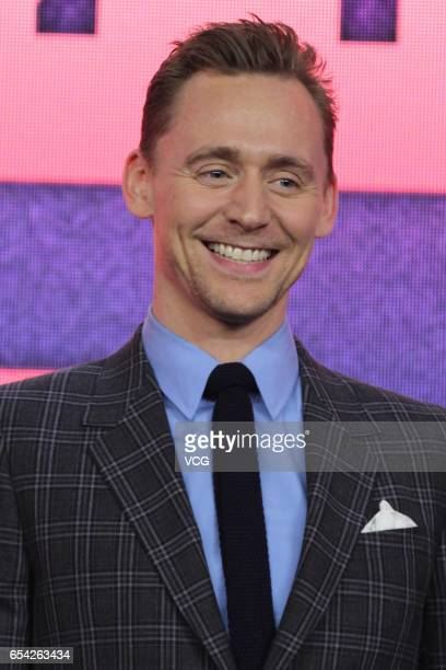 Actor Tom Hiddleston attends the press conference of film 'Kong Skull Island ' at China World Trade Center Tower III on March 16 2017 in Beijing China