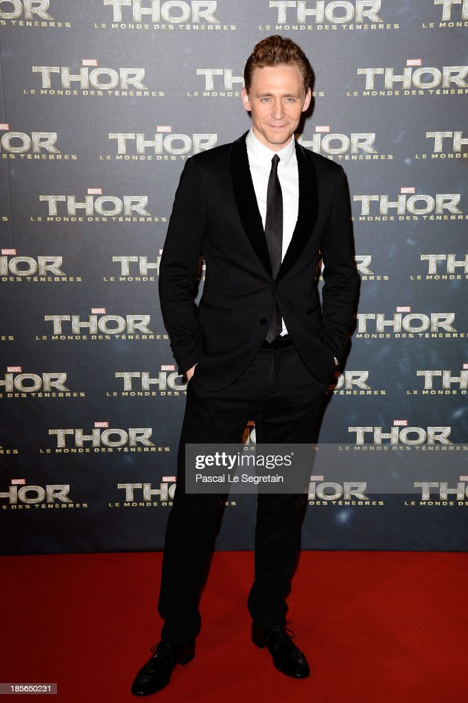 Actor Tom Hiddleston attends 'Thor: The Dark World' Premiere at Le Grand Rex on October 23, 2013 in Paris, France.