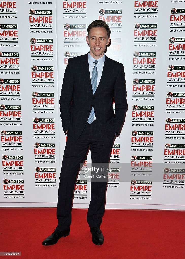 Actor Tom Hiddleston is pictured arriving at the Jameson Empire Awards at Grosvenor House on March 24, 2013 in London, England.