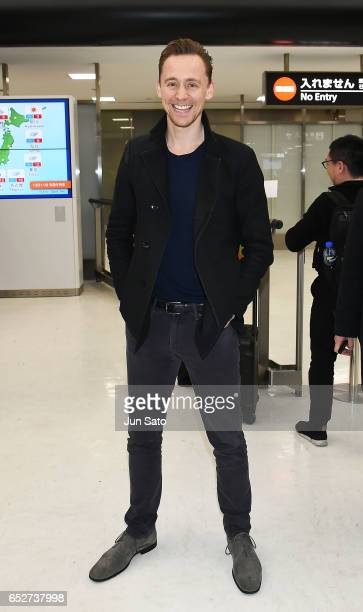 Actor Tom Hiddleston is seen upon arrival at Narita International Airport on March 13 2017 in Narita Japan