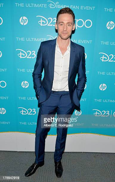 Actor Tom Hiddleston of Thor The Dark World attends Let the Adventures Begin Live Action at The Walt Disney Studios presentation at Disney's D23 Expo...