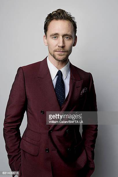 Actor Tom Hiddleston poses for a portraits at the BAFTA Tea Party at Four Seasons Hotel Los Angeles at Beverly Hills on January 7 2017 in Los Angeles...