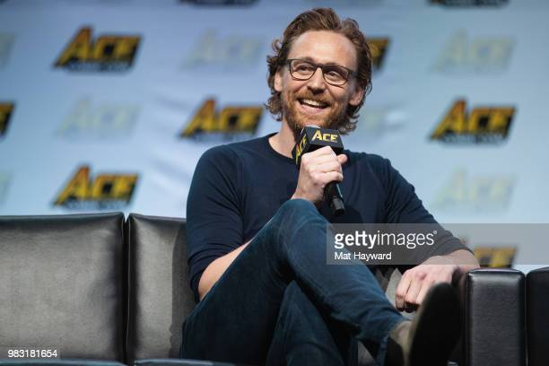 Actor Tom Hiddleston speaks on stage about life as Loki in the Marvel Universe during ACE Comic Con at WaMu Theatre on June 24 2018 in Seattle...