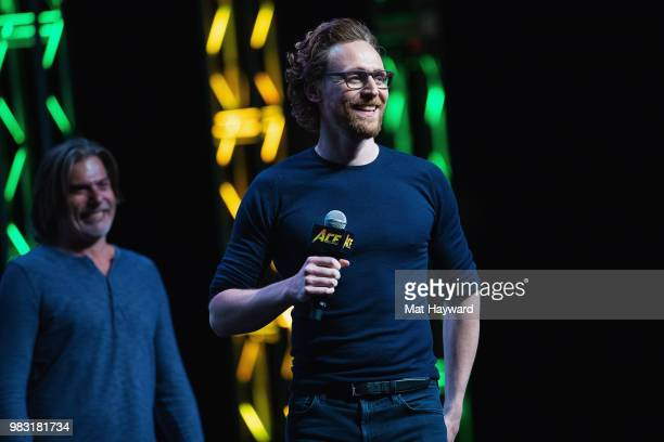 Actor Tom Hiddleston speaks on stage about life as Loki in the Marvel Universe during ACE Comic Con at WaMu Theatre on June 24, 2018 in Seattle,...