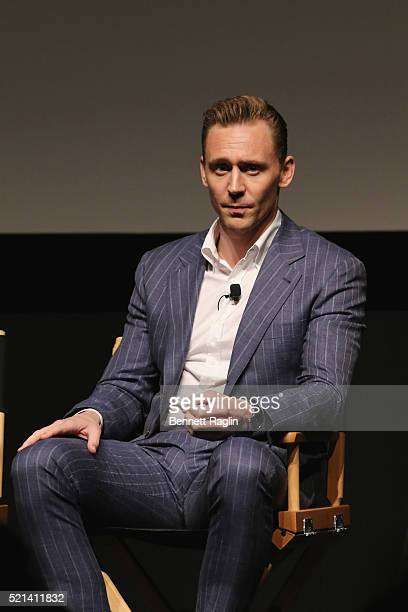 Actor Tom Hiddleston speaks onstage after the Tribeca Film Festival screening and panel of AMC's The Night Manager at SVA Theater on April 15 2016 in...
