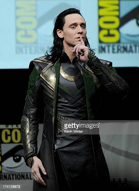 "Actor Tom Hiddleston speaks onstage at Marvel Studios ""Thor: The Dark World"" and ""Captain America: The Winter Soldier"" during Comic-Con International..."