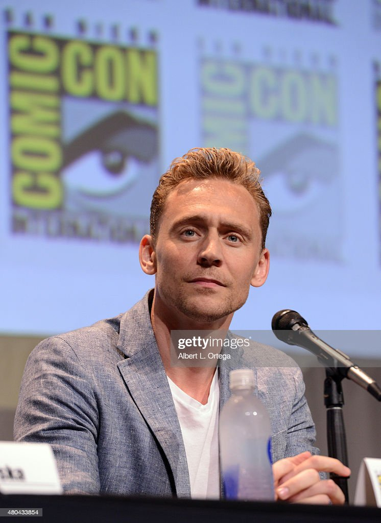 Actor Tom Hiddleston speaks onstage at the Legendary Pictures panel during Comic-Con International 2015 the at the San Diego Convention Center on July 11, 2015 in San Diego, California.