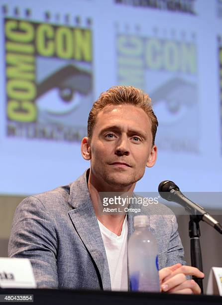 Actor Tom Hiddleston speaks onstage at the Legendary Pictures panel during ComicCon International 2015 the at the San Diego Convention Center on July...