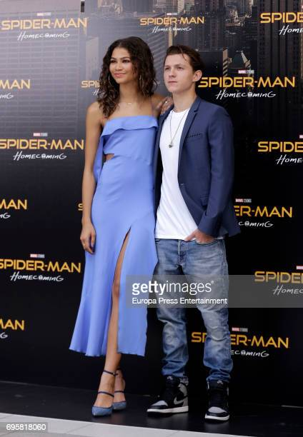 Actor Tom Holland and actress Zendaya attend 'SpiderMan Homecoming' photocall at Villa Magna hotel on June 14 2017 in Madrid Spain