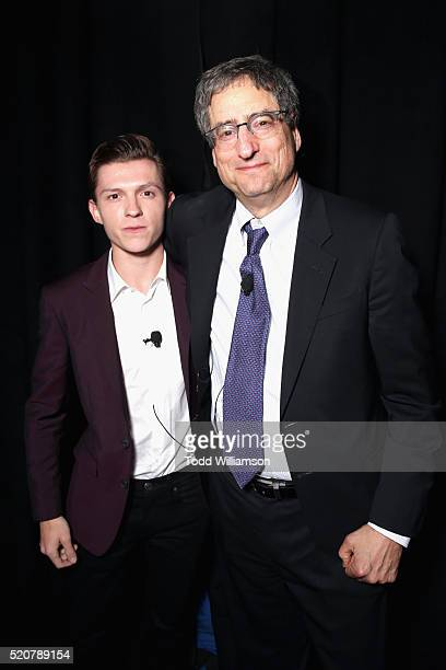Actor Tom Holland and Chairman of Sony Picture Entertainment's Motion Pictures Group Tom Rothman attend CinemaCon 2016 An Evening with Sony Pictures...