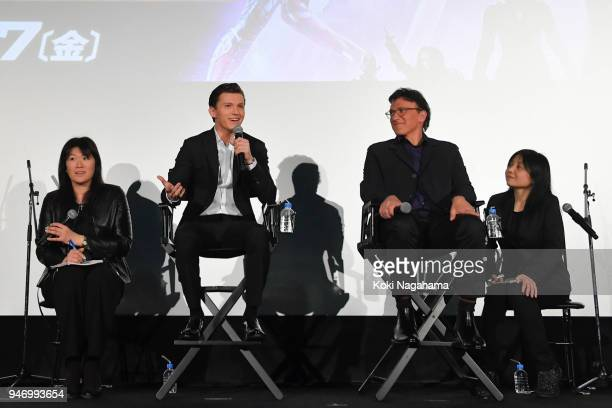 Actor Tom Holland and Film Director Anthony Lusso attend the fan event for 'Avengers Infinity War' Tokyo premiere at the TOHO Cinemas Hibiya on April...