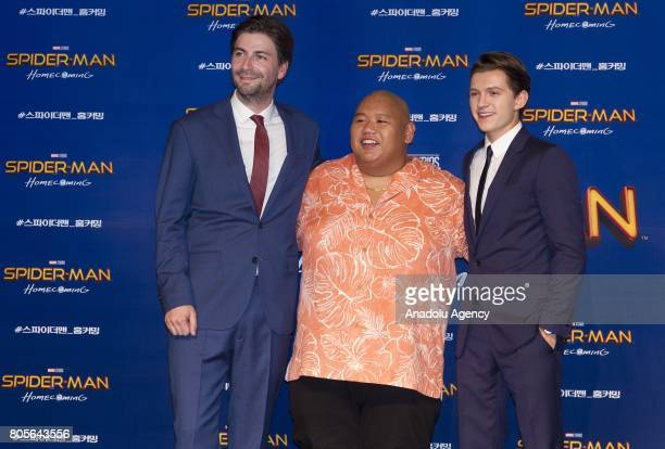 Actor Tom Holland and Jacob Batalon and Director Jon Watts attend the Red Carpet Event for 'SpiderMan Homecoming' at Times square CGV theater in...