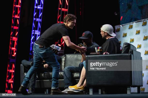 Actor Tom Holland arrives on stage during a Civil War Cast conversation at ACE Comic Con at WaMu Theatre on June 23 2018 in Seattle Washington