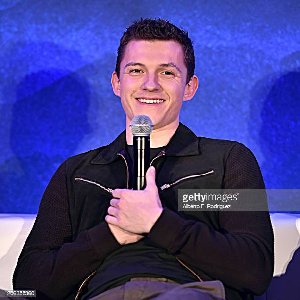Actor Tom Holland as seen at Disney/Pixar's ONWARD Global Press Conference at SLS Hotel on February 14, 2020 in Beverly Hills, California.