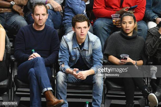 Actor Tom Holland attends a basketball game between the Los Angeles Clippers and the Houston Rockets at Staples Center on February 28 2018 in Los...
