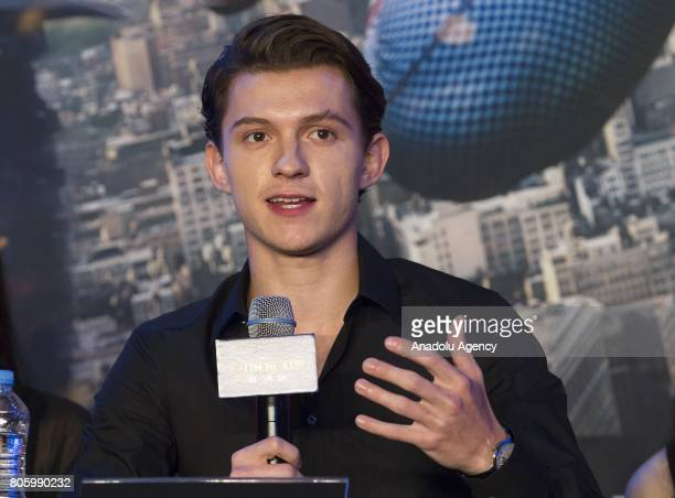 Actor Tom Holland attends a press conference to promote new movie SpiderMan Homecoming at Corad Seoul Hotel in Seoul South Korea on July 03 2017