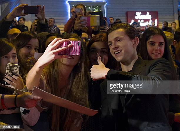 Actor Tom Holland attends 'En el corazon del mar' premiere at Callao cinema on December 3 2015 in Madrid Spain