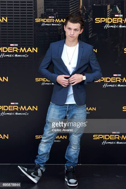 Actor Tom Holland attends 'SpiderMan Homecoming' photocall at the Villamagna Hotel on June 14 2017 in Madrid Spain