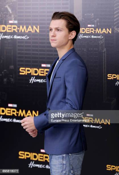 Actor Tom Holland attends 'SpiderMan Homecoming' photocall at Villa Magna hotel on June 14 2017 in Madrid Spain