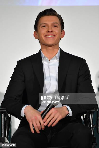 Actor Tom Holland attends the fan event for 'Avengers Infinity War' Tokyo premiere at the TOHO Cinemas Hibiya on April 16 2018 in Tokyo Japan