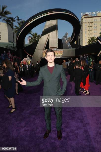 Actor Tom Holland attends the Los Angeles Global Premiere for Marvel Studios' Avengers Infinity War on April 23 2018 in Hollywood California
